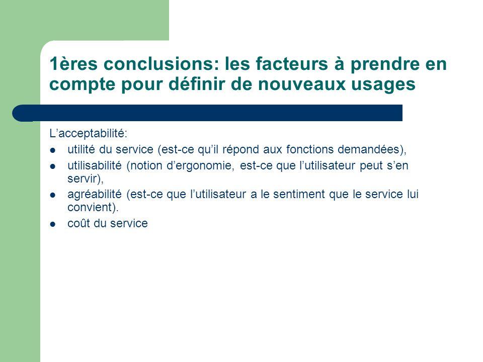 1ères conclusions: les facteurs à prendre en compte pour définir de nouveaux usages