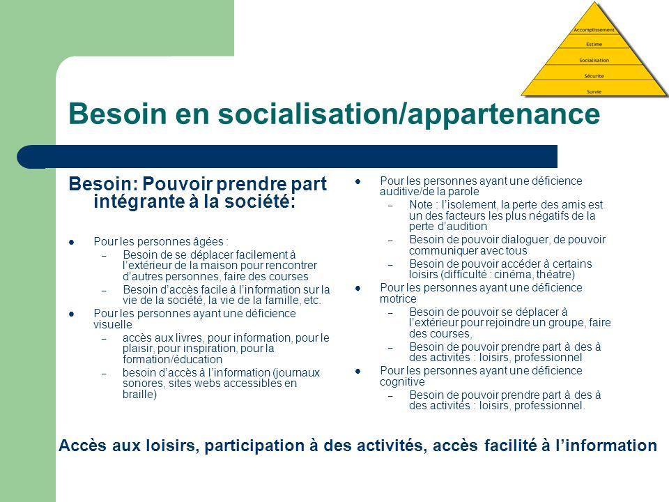 Besoin en socialisation/appartenance