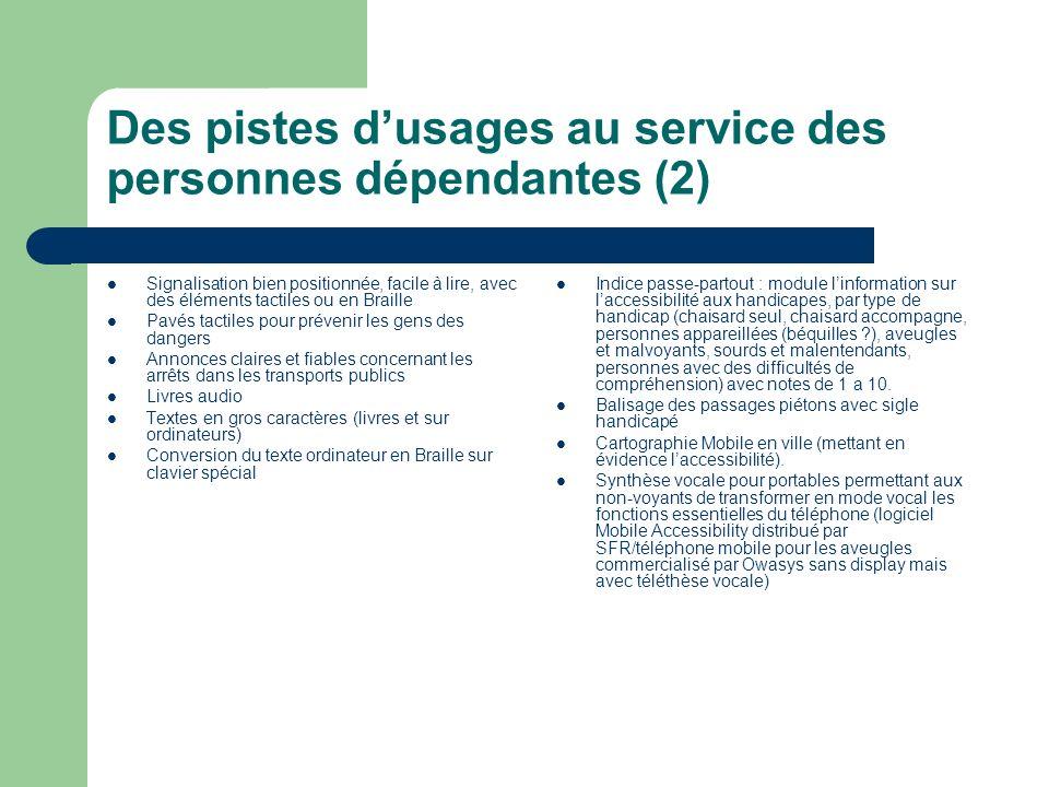 Des pistes d'usages au service des personnes dépendantes (2)