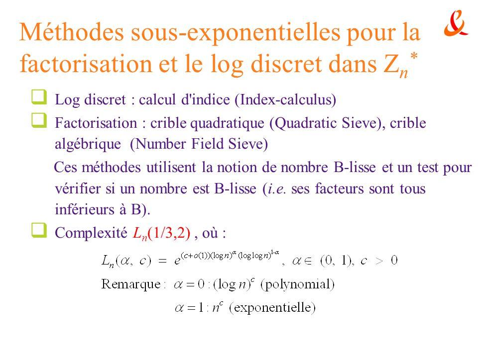 Méthodes sous-exponentielles pour la factorisation et le log discret dans Zn*