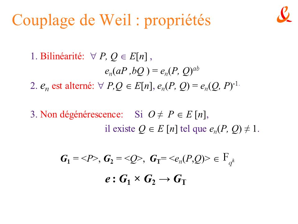 Couplage de Weil : propriétés