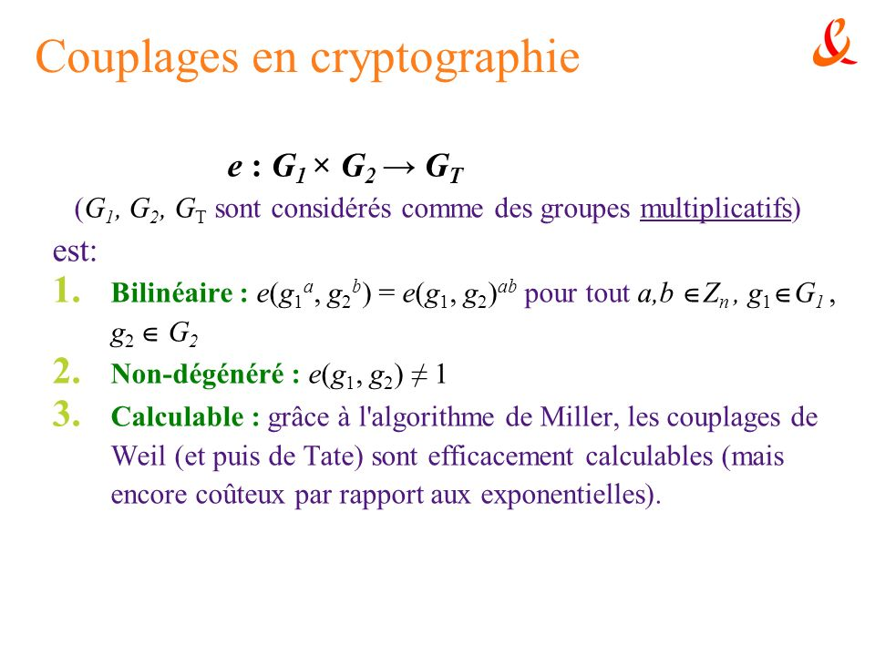 Couplages en cryptographie