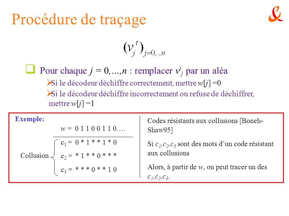 Procédure de traçage Pour chaque j = 0,…,n : remplacer vtj par un aléa