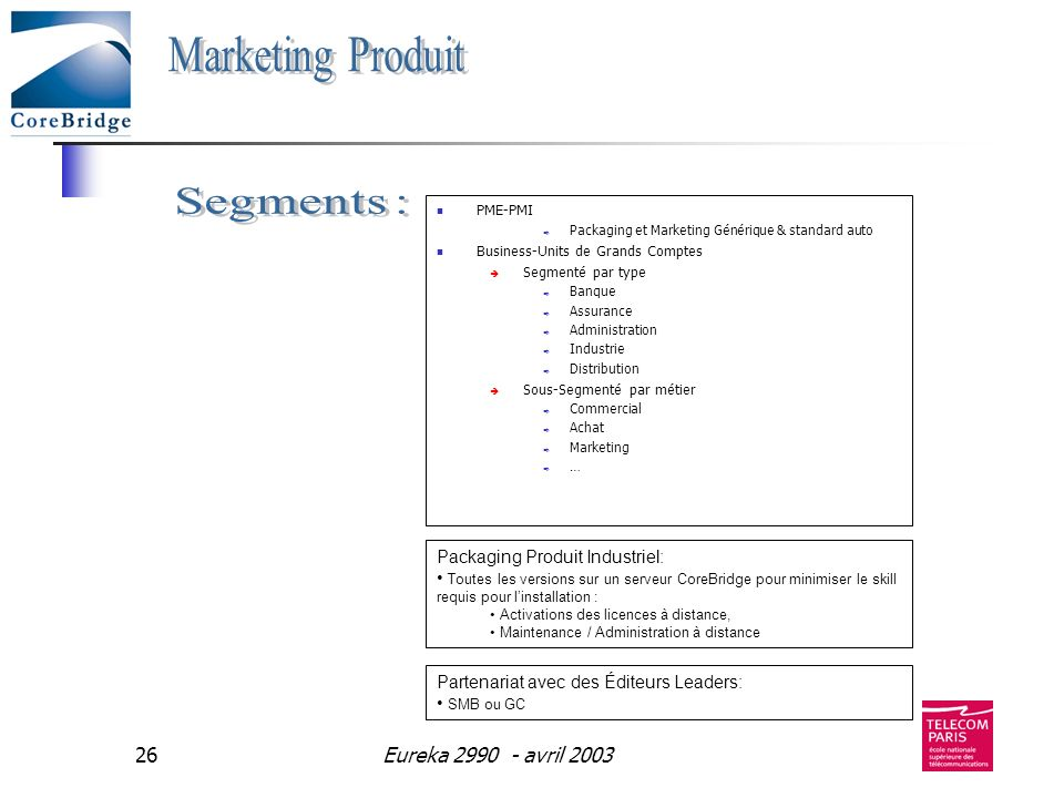 Marketing Produit Segments : Eureka avril 2003