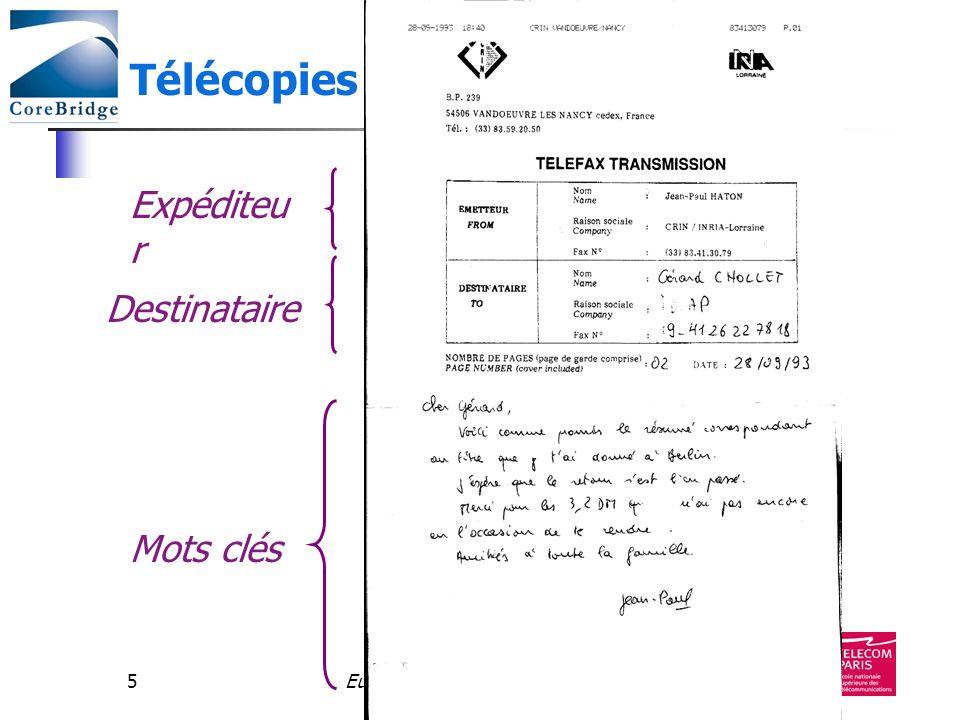 Télécopies Expéditeur Destinataire Mots clés Eureka 2990 - avril 2003