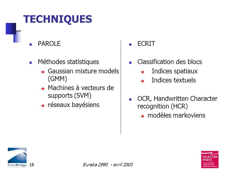 TECHNIQUES PAROLE Méthodes statistiques Gaussian mixture models (GMM)