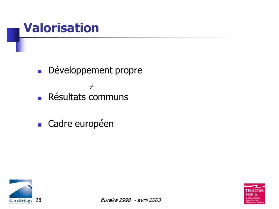 Valorisation Développement propre Résultats communs Cadre européen
