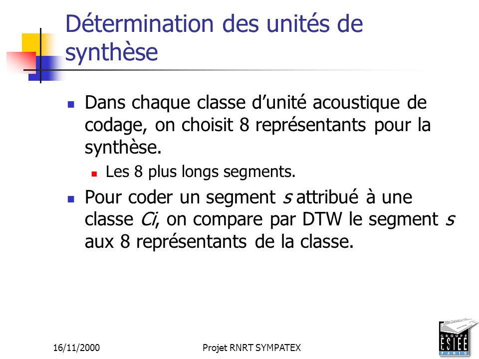 Détermination des unités de synthèse