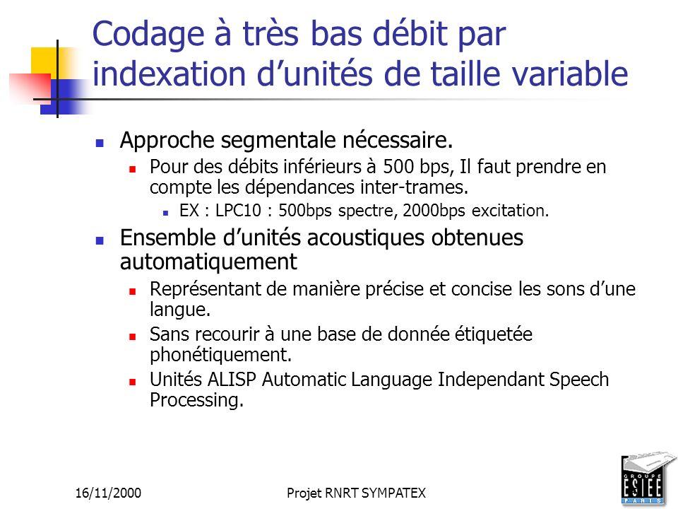 Codage à très bas débit par indexation d'unités de taille variable