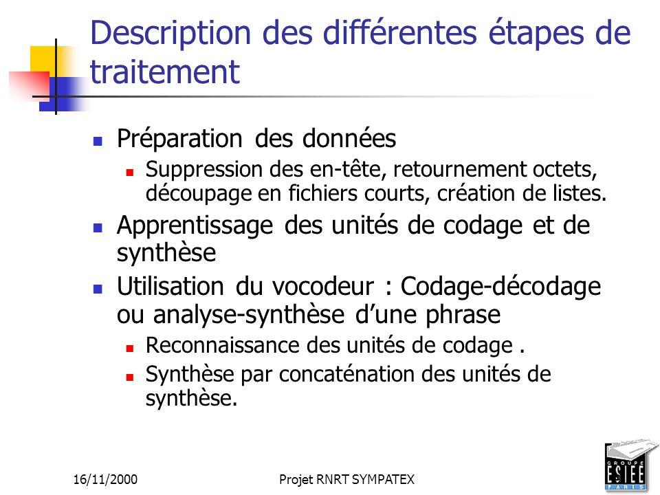 Description des différentes étapes de traitement