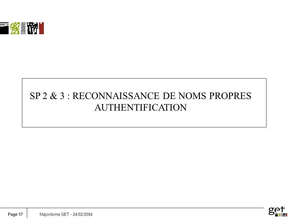 SP 2 & 3 : RECONNAISSANCE DE NOMS PROPRES