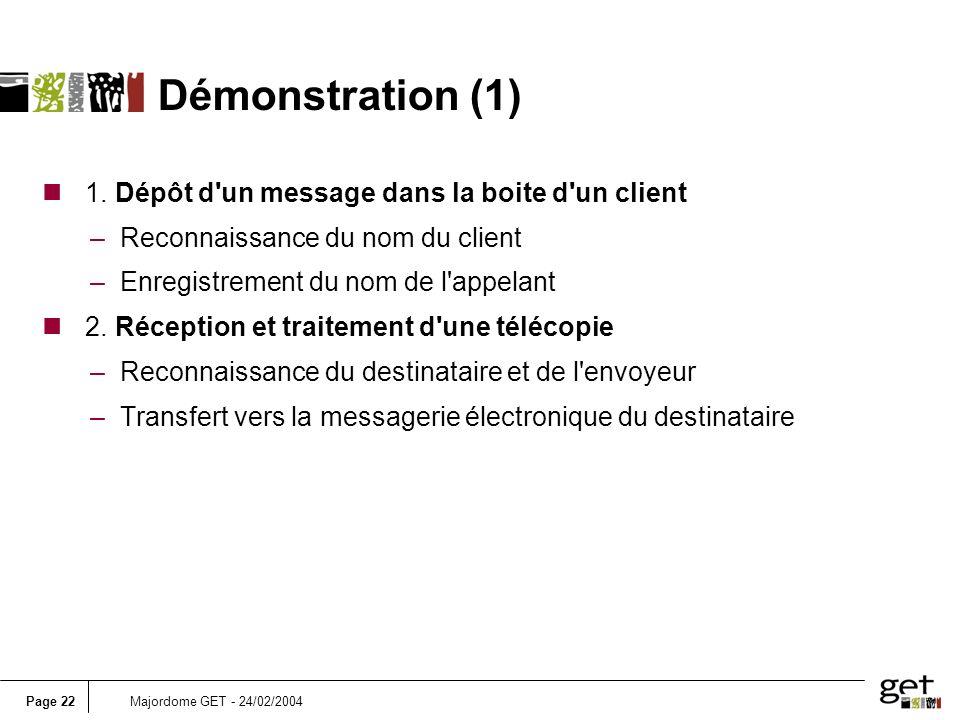 Démonstration (1) 1. Dépôt d un message dans la boite d un client