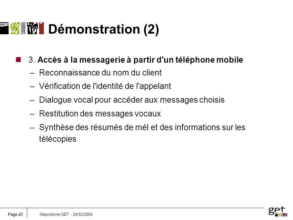 Démonstration (2) 3. Accès à la messagerie à partir d un téléphone mobile. Reconnaissance du nom du client.