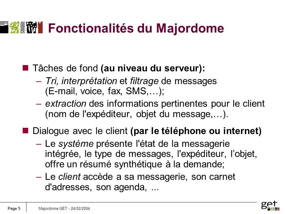 Fonctionalités du Majordome