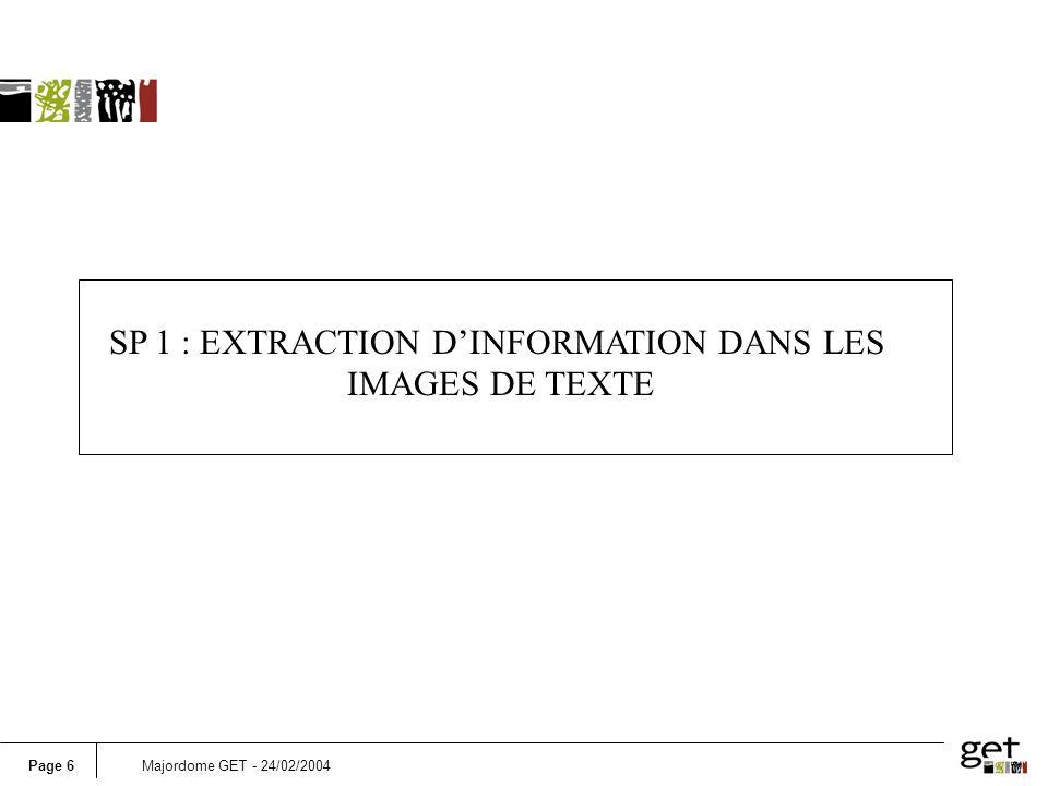 SP 1 : EXTRACTION D'INFORMATION DANS LES