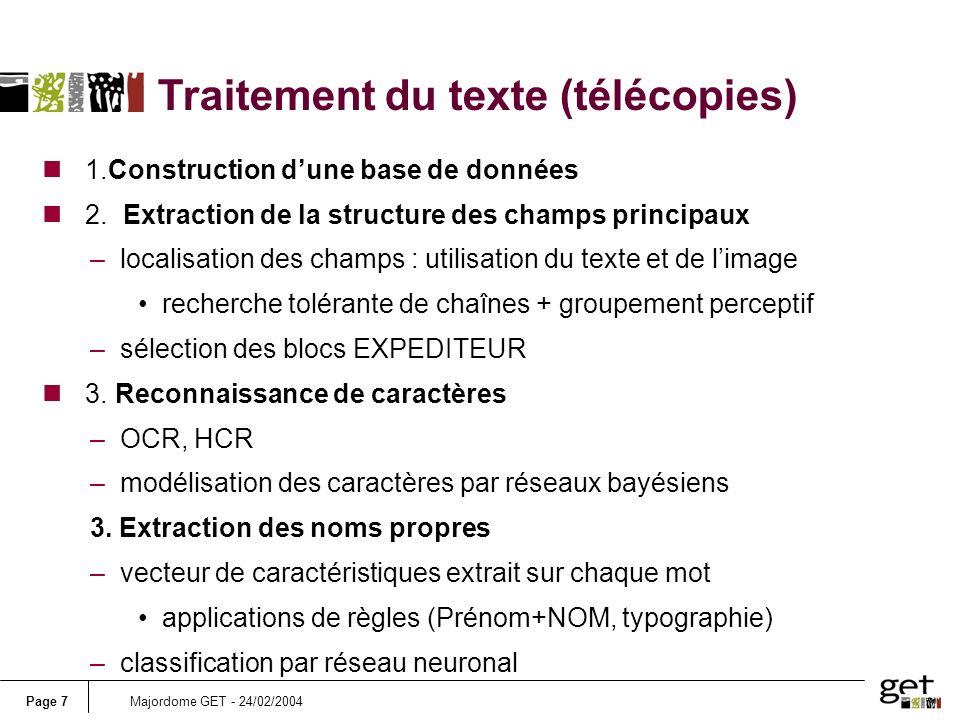 Traitement du texte (télécopies)