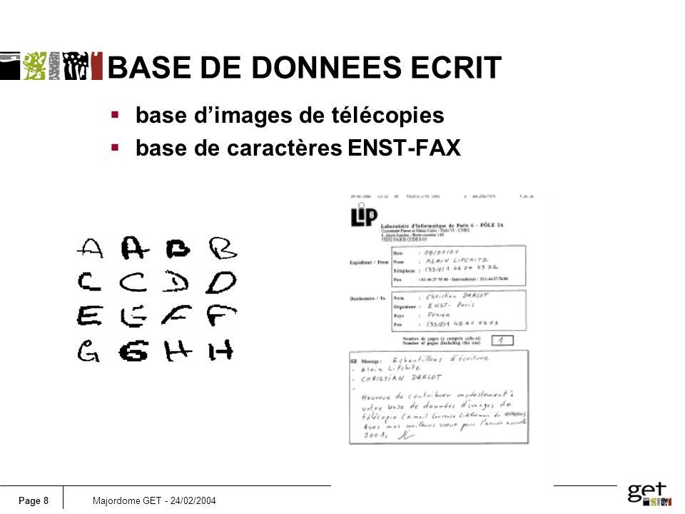 BASE DE DONNEES ECRIT base d'images de télécopies