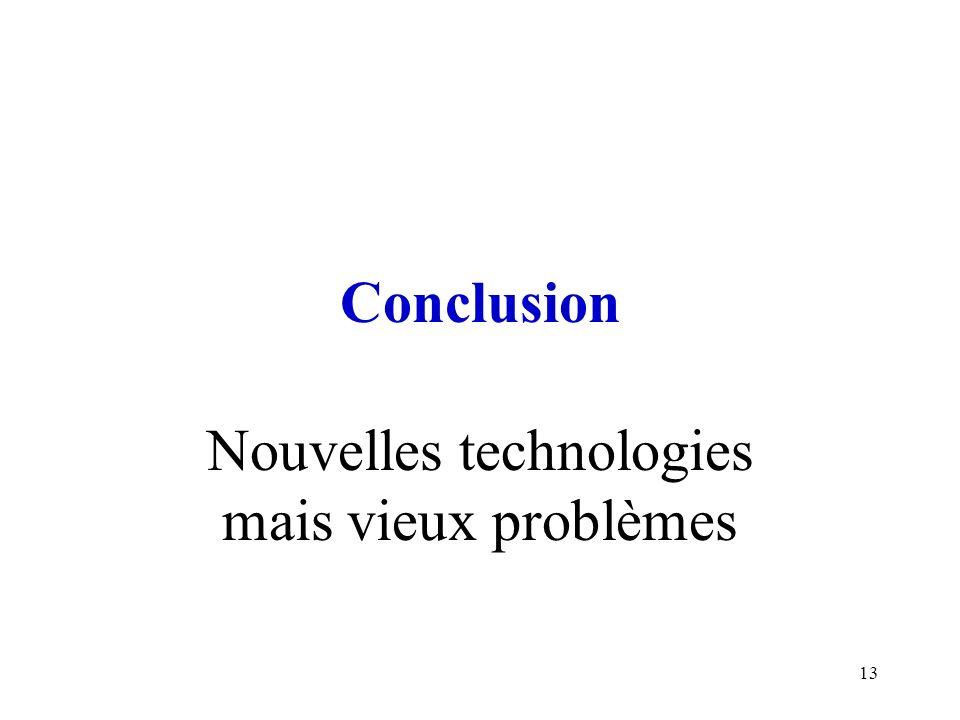 Nouvelles technologies mais vieux problèmes