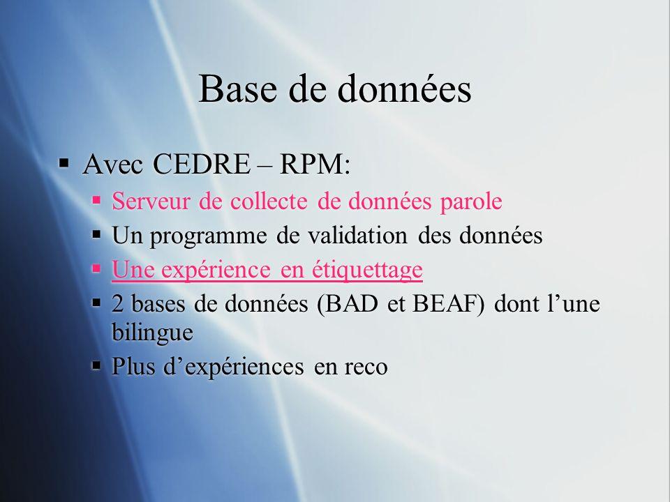 Base de données Avec CEDRE – RPM: