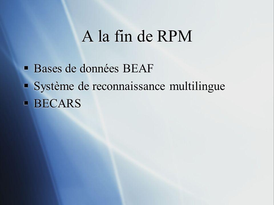 A la fin de RPM Bases de données BEAF