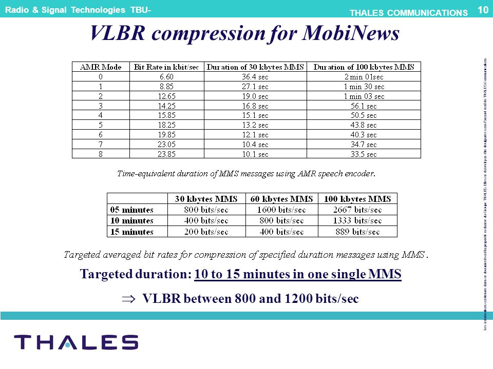 VLBR compression for MobiNews