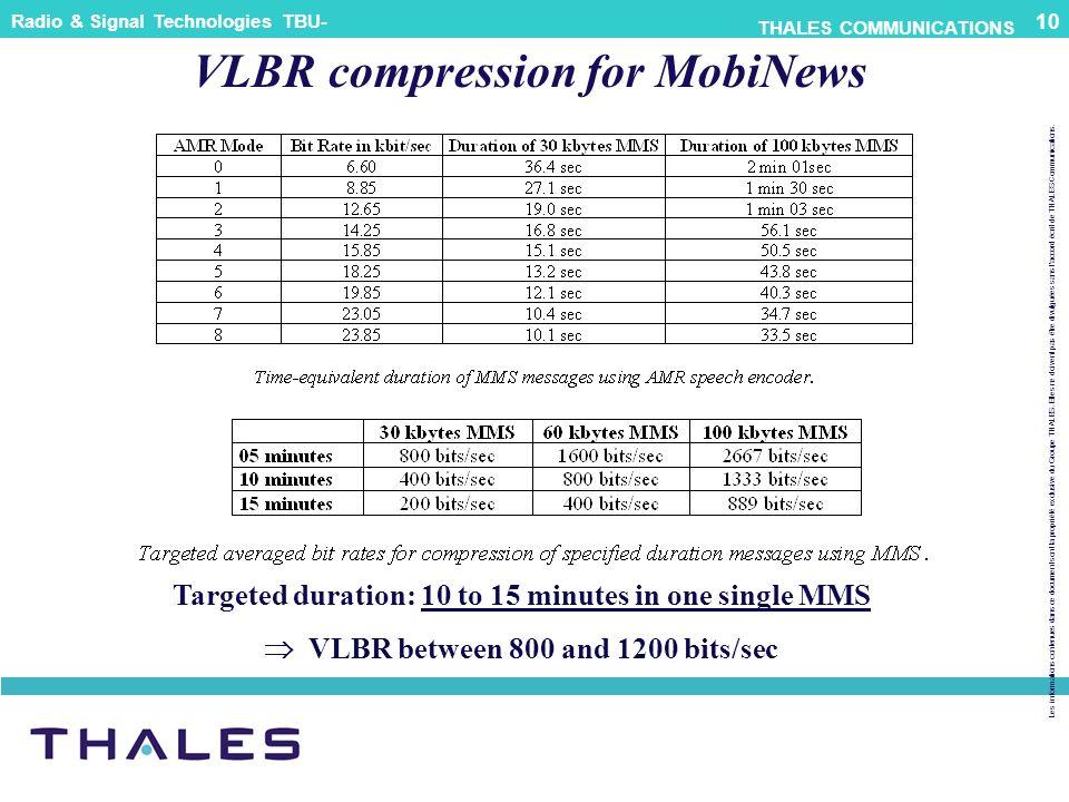 VLBR compression for MobiNews