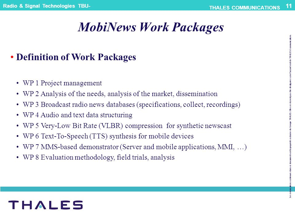 MobiNews Work Packages