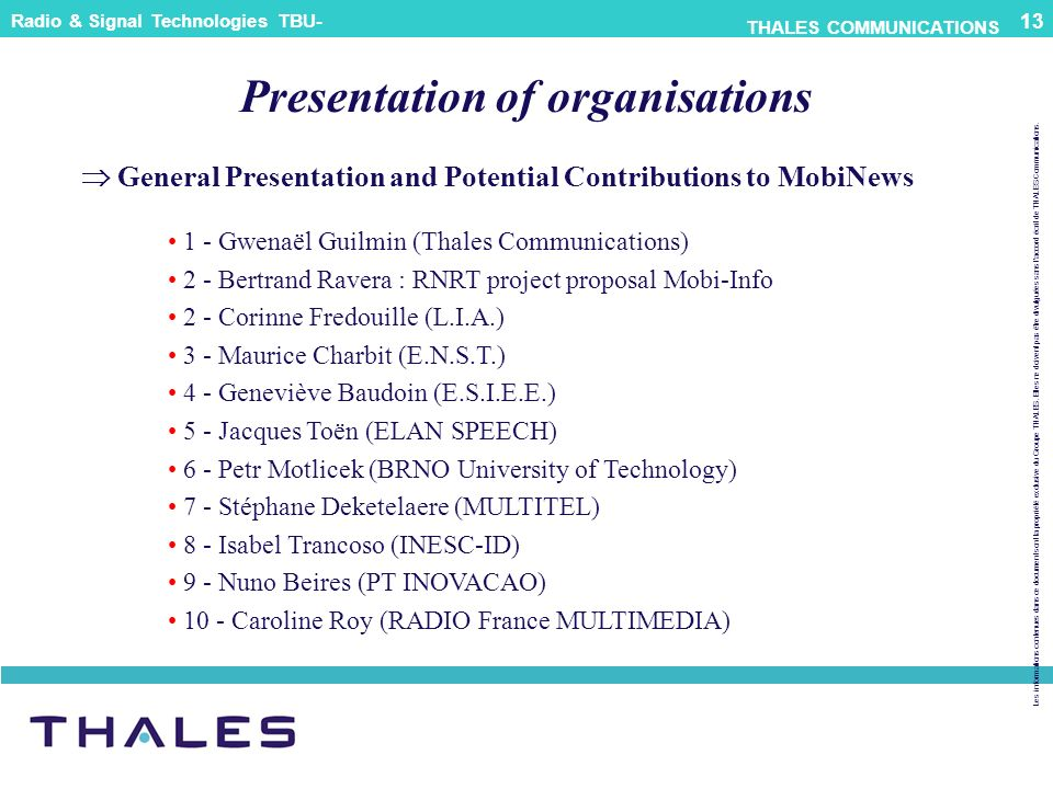 Presentation of organisations