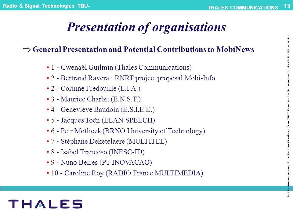 Presentation of organisations