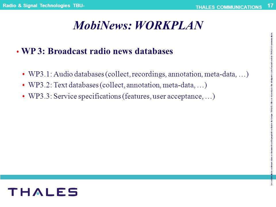 MobiNews: WORKPLAN WP 3: Broadcast radio news databases