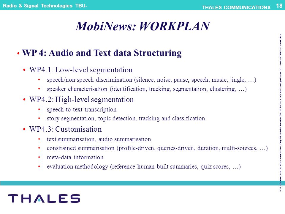 MobiNews: WORKPLAN WP 4: Audio and Text data Structuring
