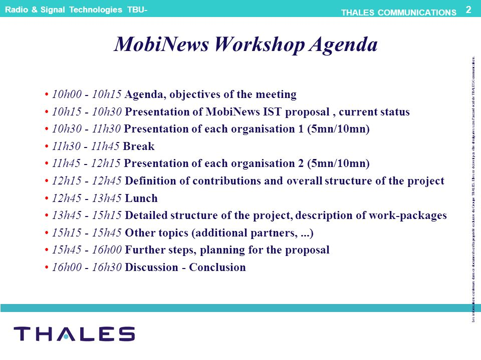MobiNews Workshop Agenda