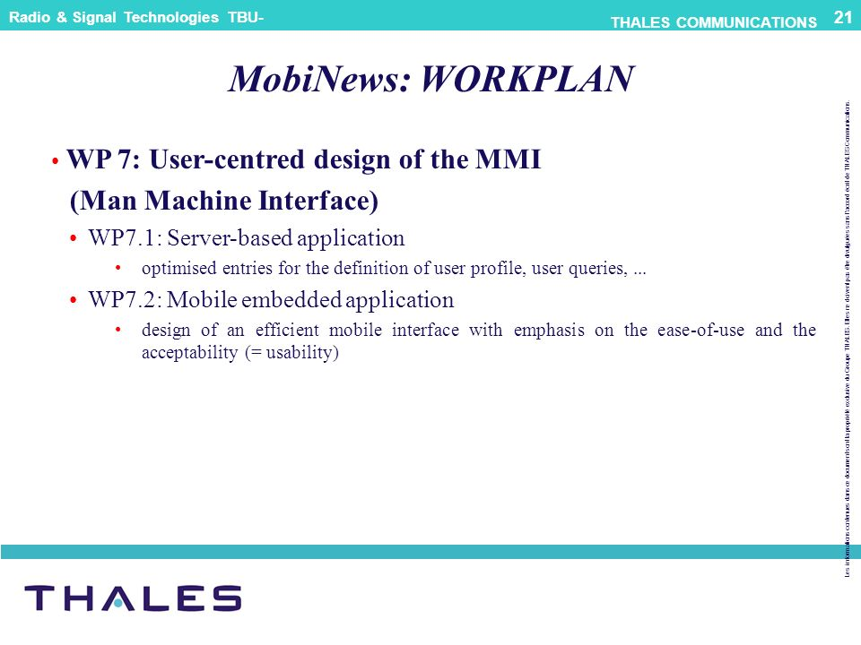 MobiNews: WORKPLAN (Man Machine Interface)