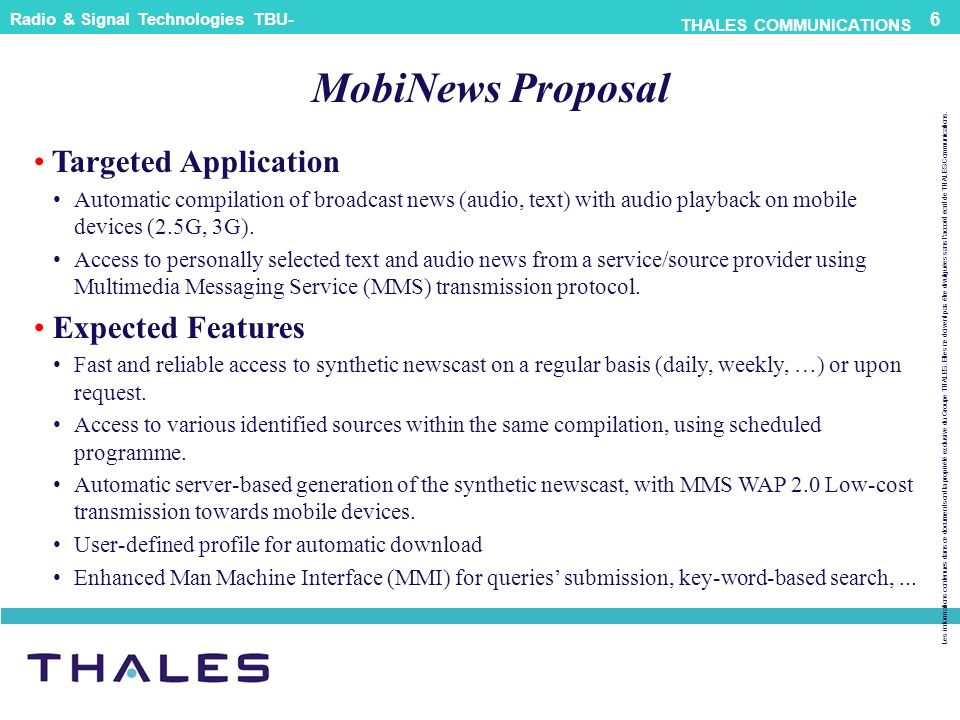 MobiNews Proposal Targeted Application Expected Features