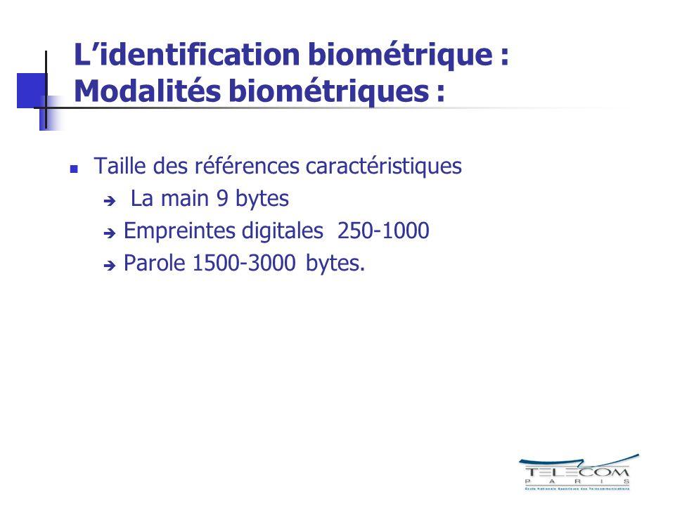 L'identification biométrique : Modalités biométriques :