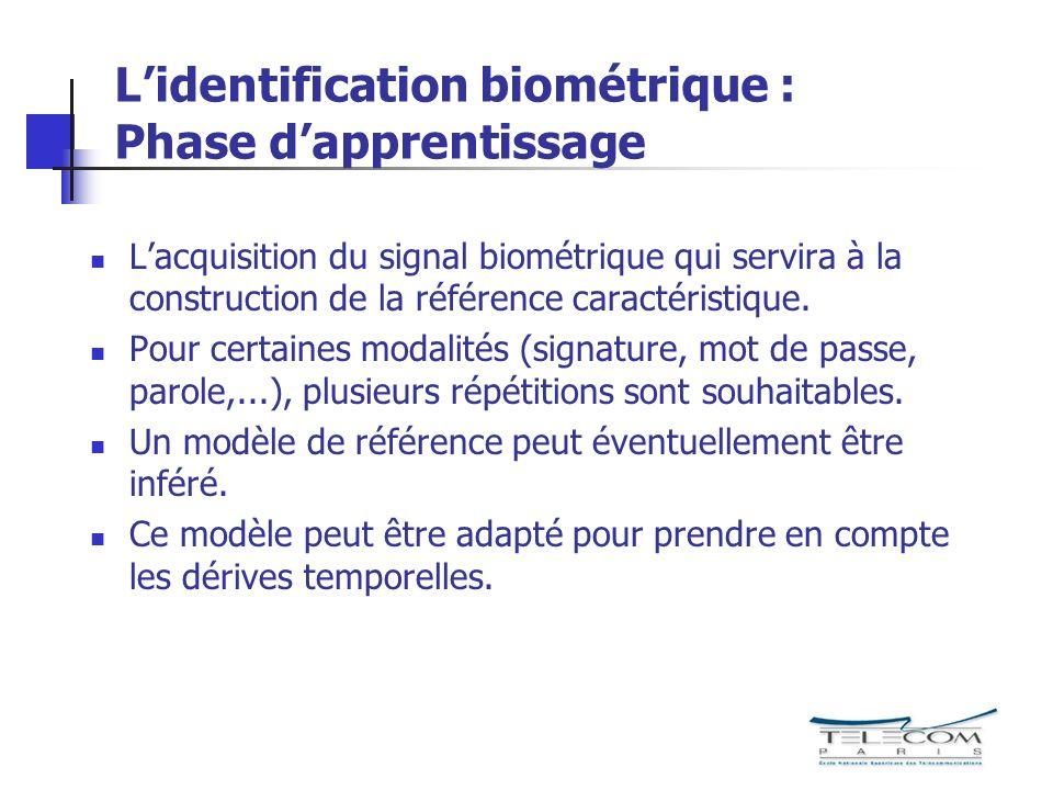 L'identification biométrique : Phase d'apprentissage