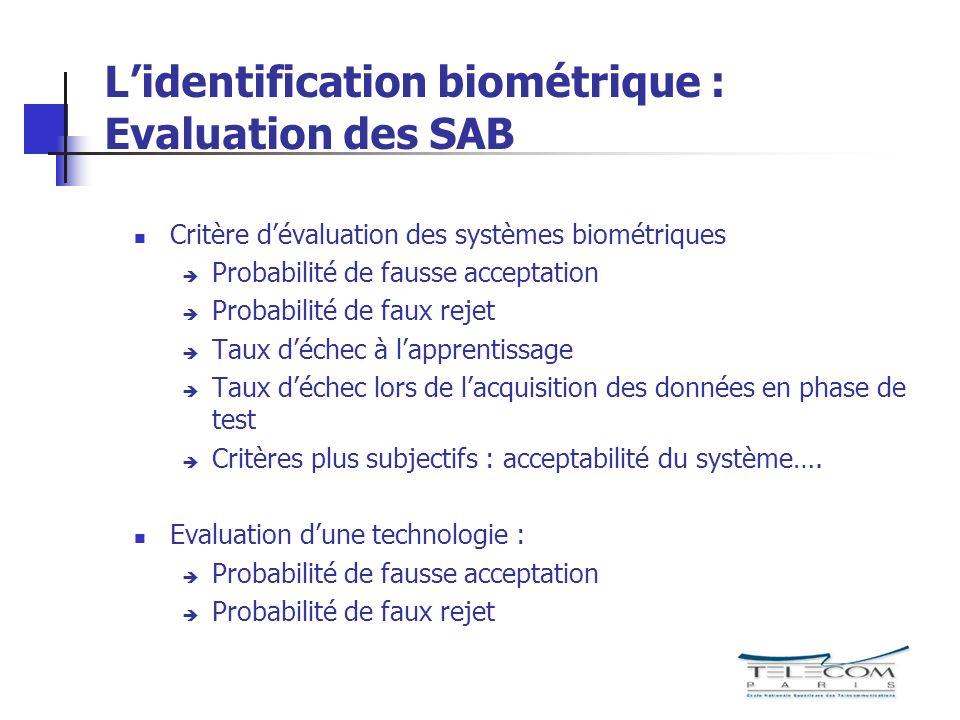 L'identification biométrique : Evaluation des SAB
