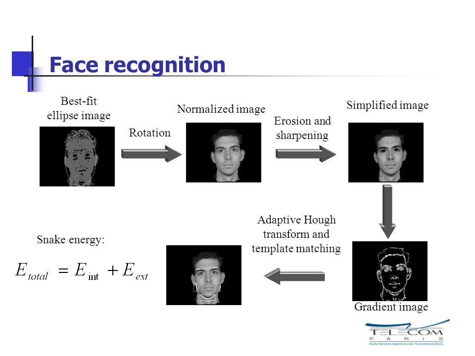 Face recognition Best-fit Simplified image ellipse image