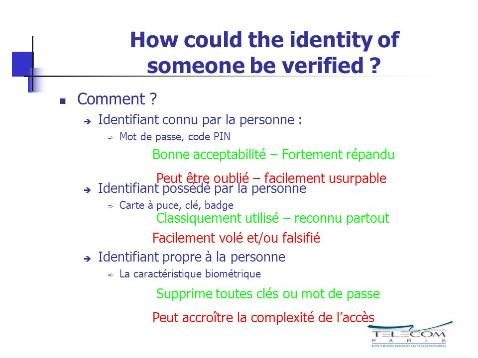 How could the identity of someone be verified