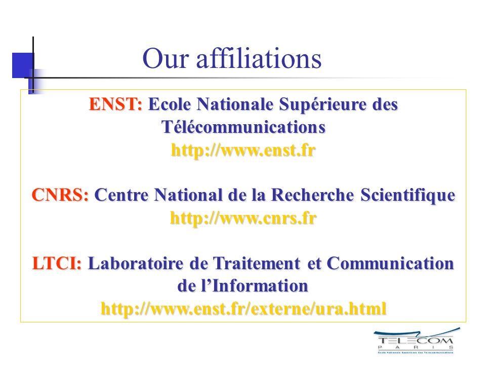 Our affiliationsENST: Ecole Nationale Supérieure des Télécommunications http://www.enst.fr.