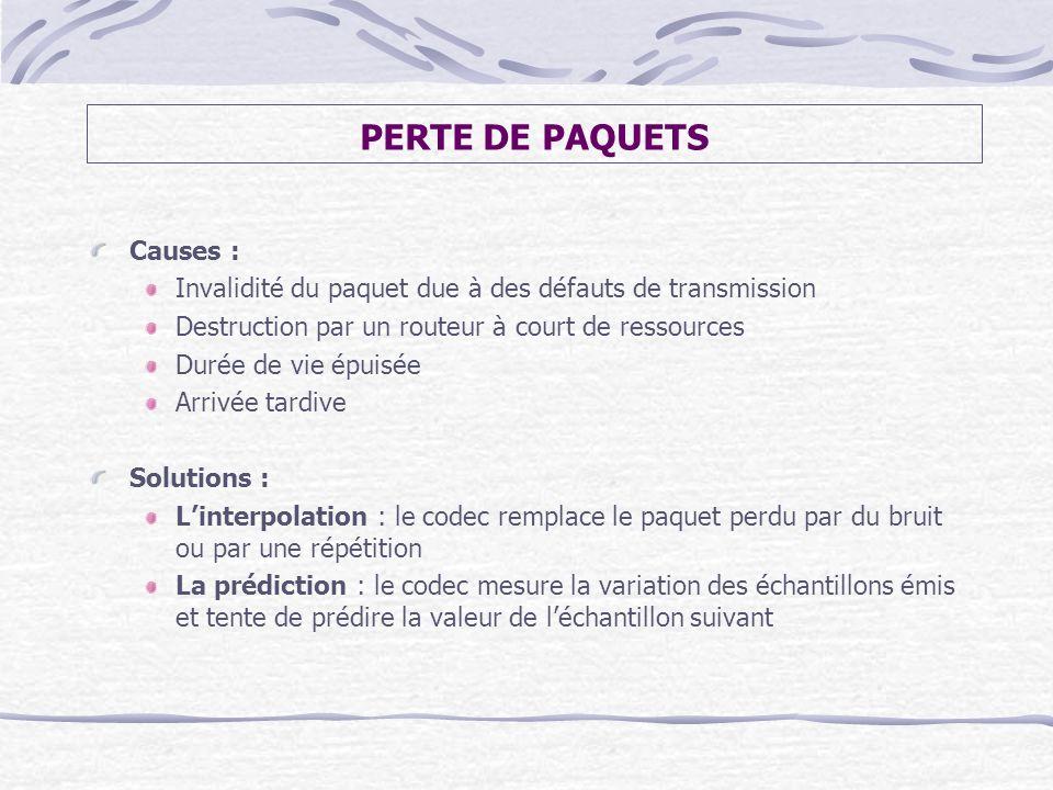 PERTE DE PAQUETS Causes :