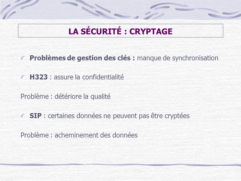 LA SÉCURITÉ : CRYPTAGE Problèmes de gestion des clés : manque de synchronisation. H323 : assure la confidentialité.