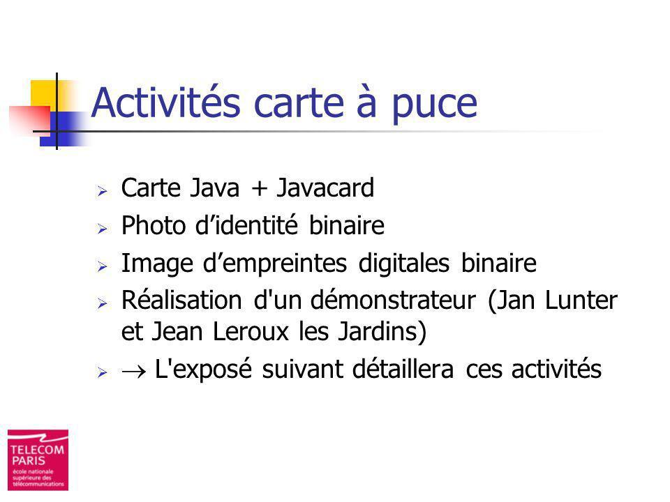 Activités carte à puce Carte Java + Javacard Photo d'identité binaire