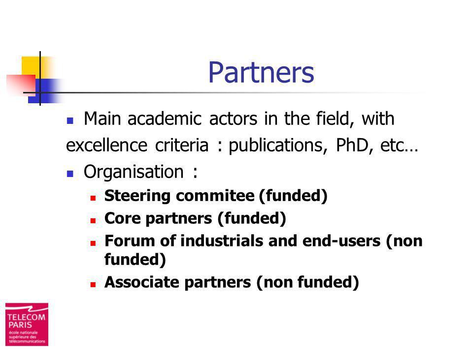 Partners Main academic actors in the field, with