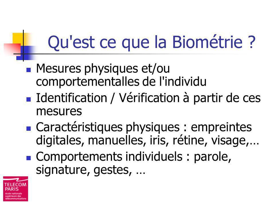 Qu est ce que la Biométrie