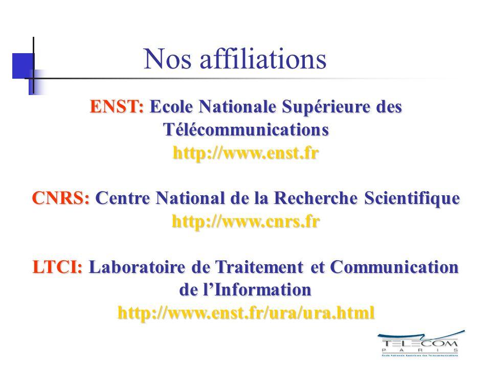 Nos affiliations ENST: Ecole Nationale Supérieure des Télécommunications http://www.enst.fr.
