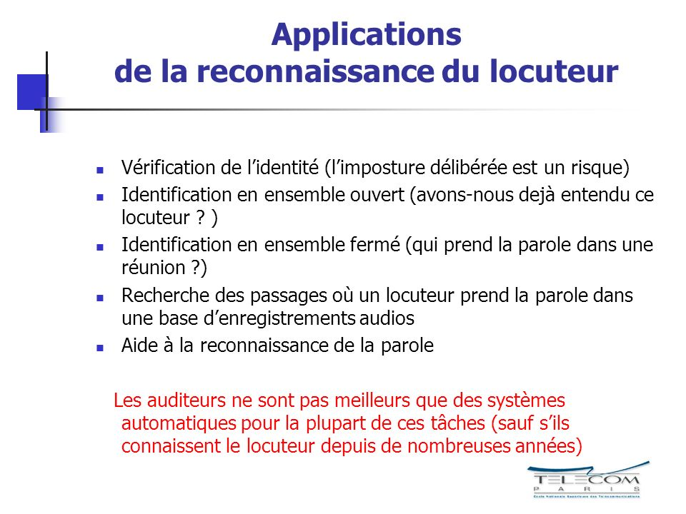 Applications de la reconnaissance du locuteur