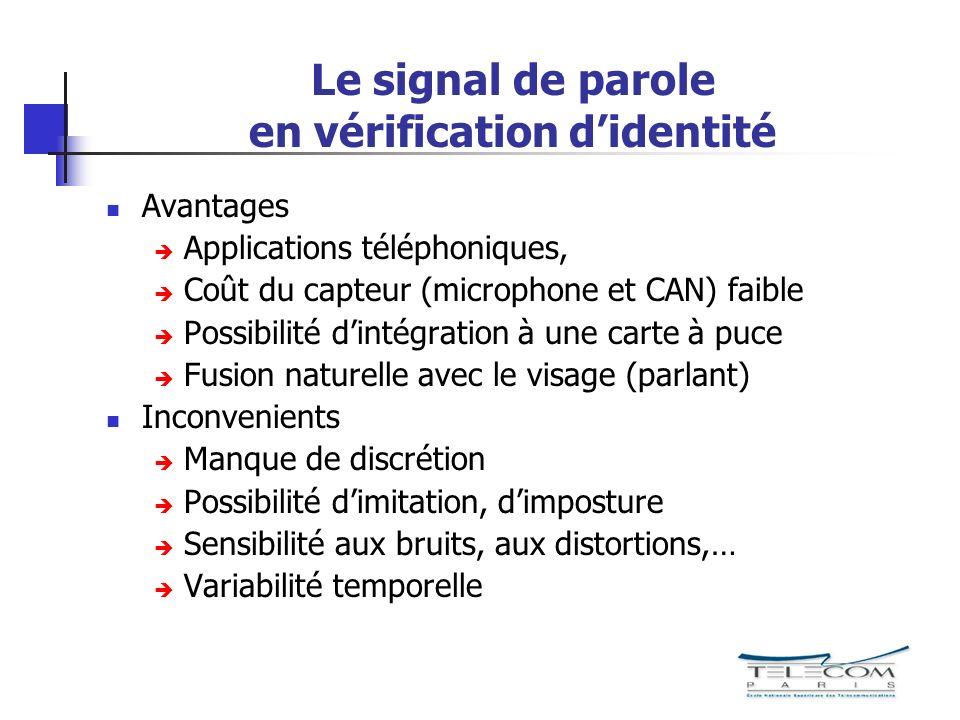 Le signal de parole en vérification d'identité