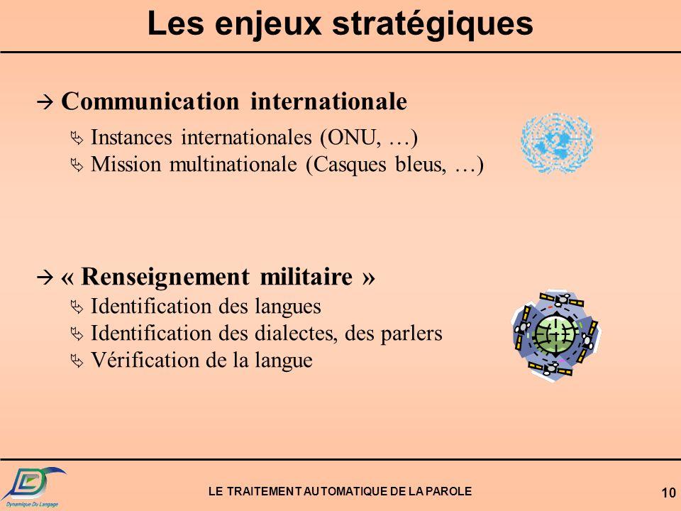 Les enjeux stratégiques