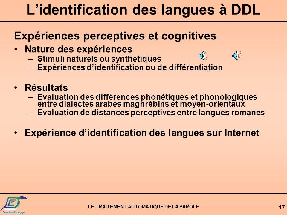L'identification des langues à DDL